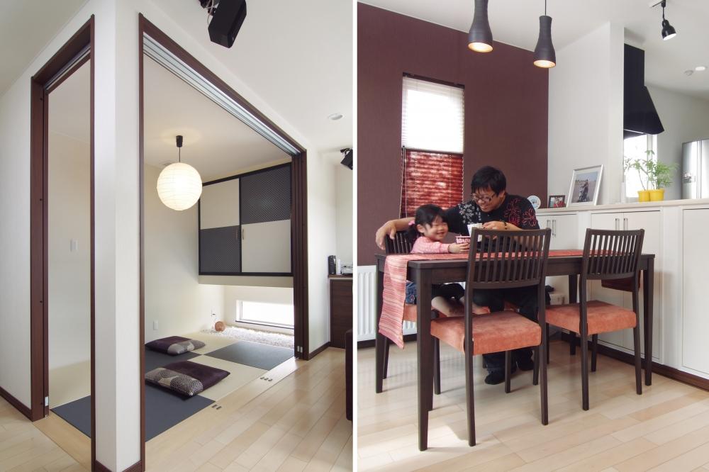 デザインへのこだわりは? - 和モダンを感じるデザインが好きだったので、リビングのアクセントクロスを落ち着いたえんじ色に。和紙のブラインドや、濃い木調の家具を合わせて全体をまとめました。和室の吊り押入れと琉球畳はモノトーンの市松模様にして、スタイリッシュな感じをとりいれました。 -  -