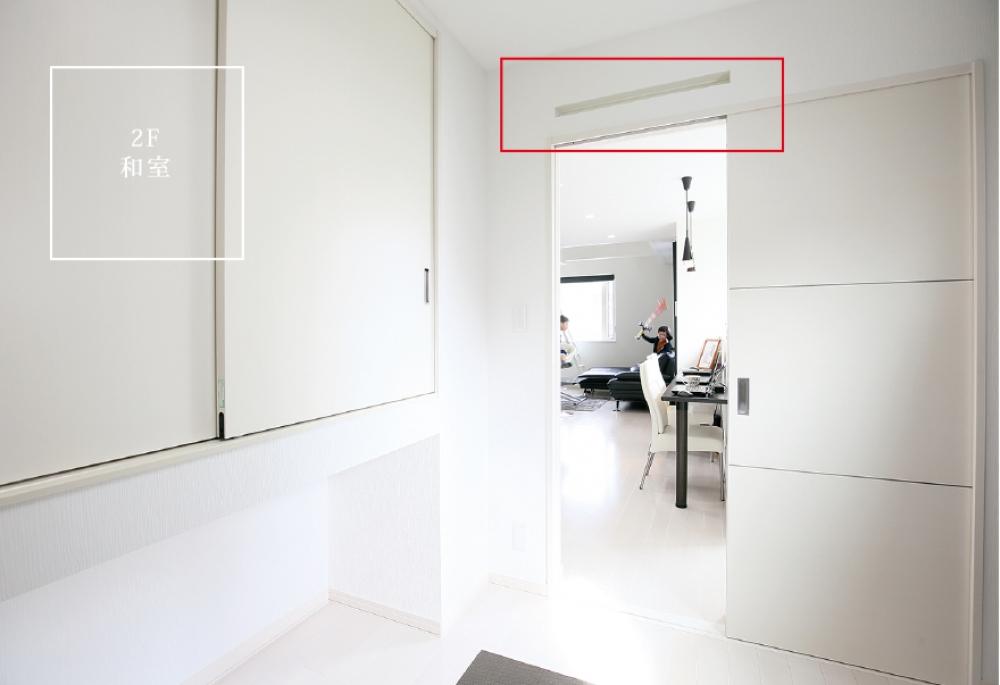 - 空気が流れるスリットを設けています。下の間取図で、赤く示した部分が換気口の位置です。 -  -