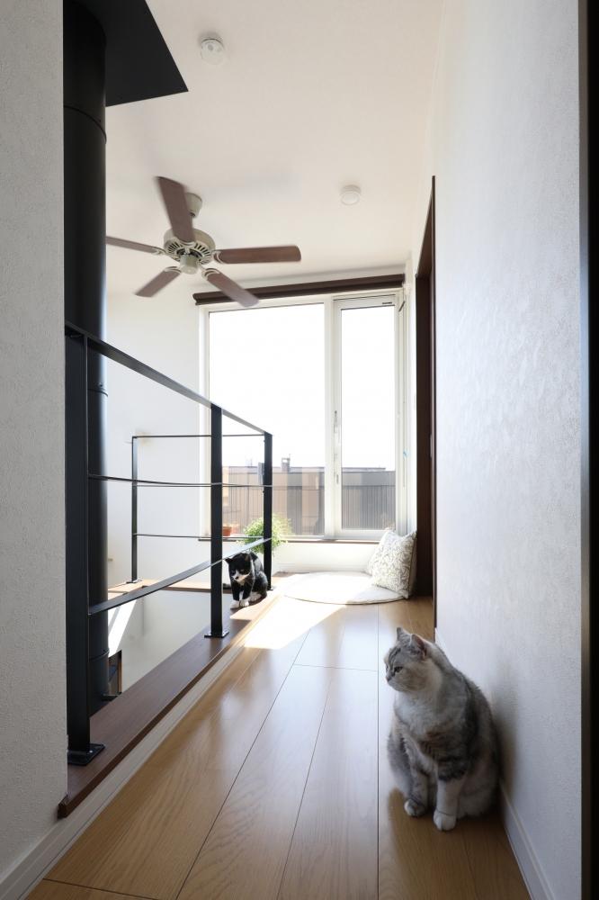 マンションから戸建に変更したきっかけは? - 土地が住宅密集地なのが気になっていましたが、提案してくれたのは3階建てのプラン。2階にリビングがあって、吹抜けや大きな窓がある間取り。これなら開放的に過ごせそうと惹かれました。せっかくなら薪ストーブも入れてみたくて、具体的に話が進んでいきましたね。 -  -