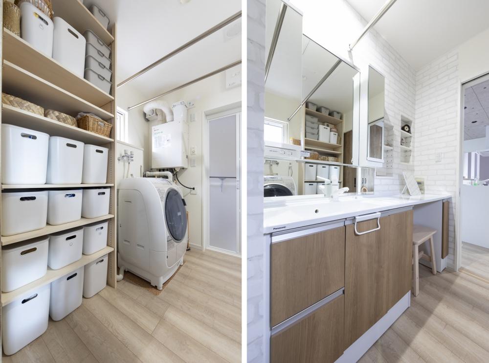 - ユーティリティのリネン棚は、ボックス収納でスッキリとまとまっています。メイクカウンターがある洗面台が便利!