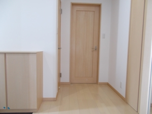 玄関  ドアや下駄箱も同色でまとめて統一感があります